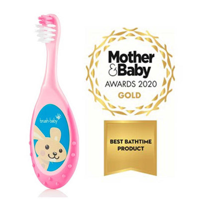 Brushbaby Pink Award winning Flossbrush with wide gripping handle for babies and toddlers