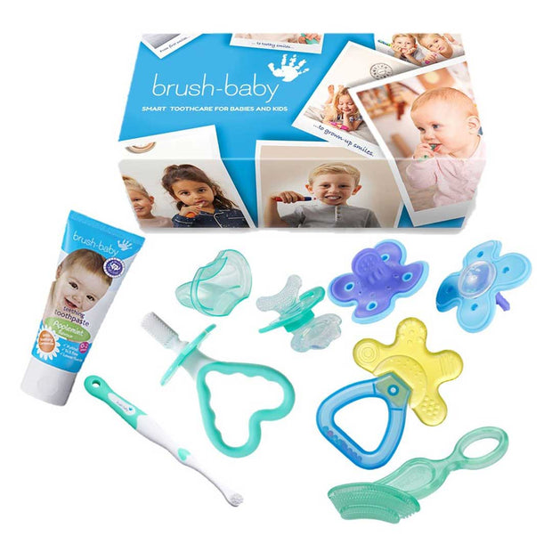 The ultimate teether survival kit with teething toothpaste, 2 pack of blue munch molar, blue and yellow coolNcalm rattle teether, teal chewable toothbrush. teal first toothbrush and teether set and front ease teether