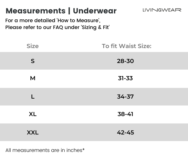 Underwear Size Chart for Livingwear