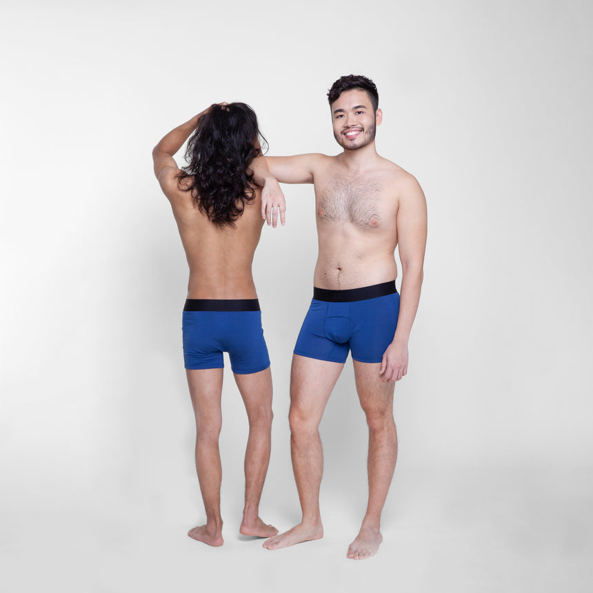Men in indigo mid rise boxer briefs by Livingwear