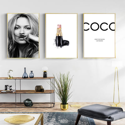 Modern Vogue Fashion Women Nordic Wall Art Canvas Painting Black White