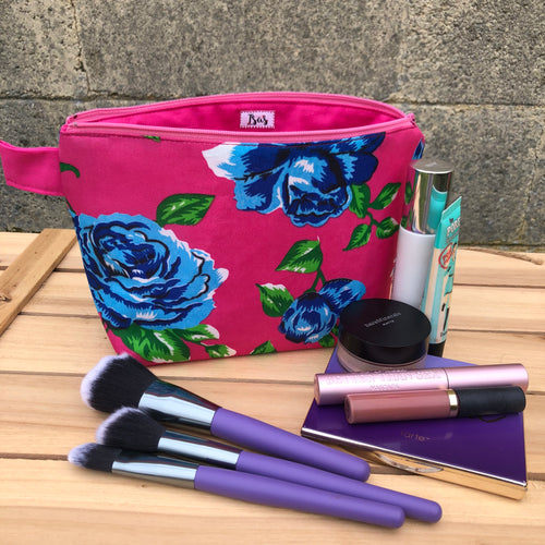 Las Rosas Makeup Bag - Pink w/Blue Rose