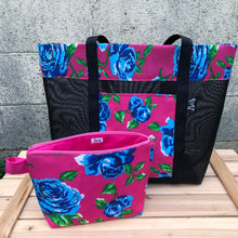 Load image into Gallery viewer, Las Rosas Makeup Bag - Pink w/Blue Rose