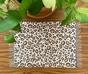 Placemat Sarape Reversible Tapete - Animal Stitched Heart/ Burgandy Sarape / Cheetah/ Leopard