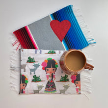 Load image into Gallery viewer, Mug Rug/ Sarape Reversible Tapetito -  María