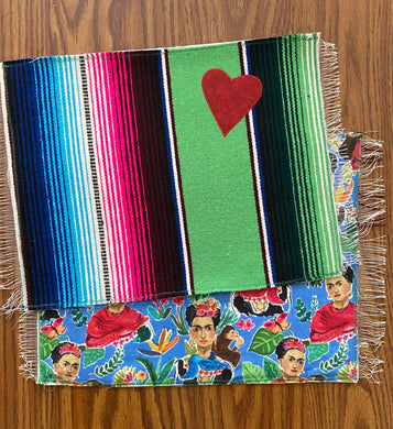 Placemat Sarape Reversible Tapete- Green / Frida