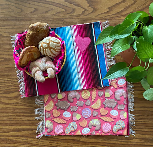 Placemat Sarape Reversible Tapete- Pink/ Blue/ Pan Dulce