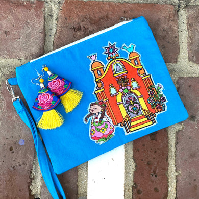 Folklorico Dancer Denim Wristlet with Earrings Set