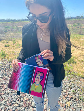 Frida Sarape Wristlet w/Coin pouch & Earrings Gift Set
