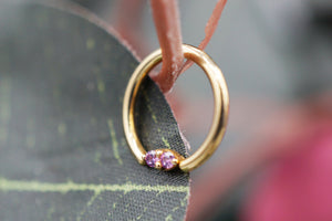 16g Yellow Gold Fixed Forward Facing Marquise Ring w/ Fancy Purple gems