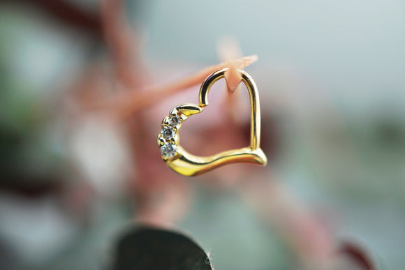 Yellow Gold 'Mina' Heart with Cubic Zirconias