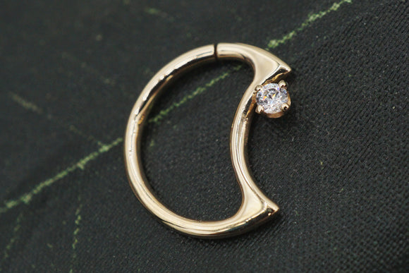 Gold Lunear with CZ