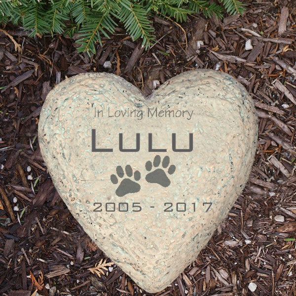 Sympathy Pet Garden Stone - Heart Shape