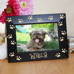 Engraved Paw Prints Black Frame