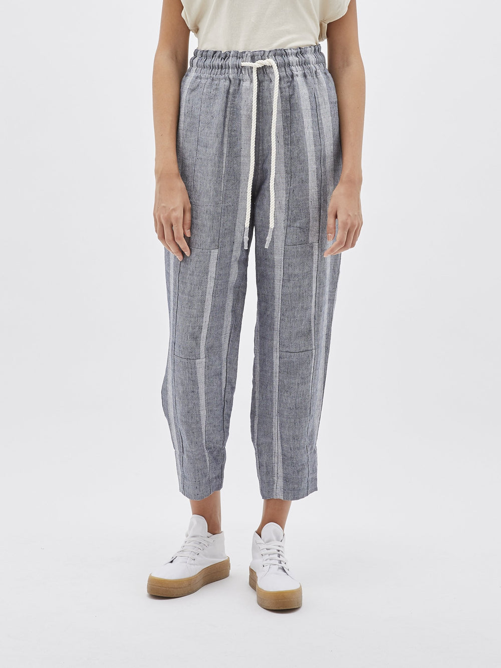 denim long rise panelled pant