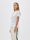 bassike wide heritage slim short sleeve t.shirt in white