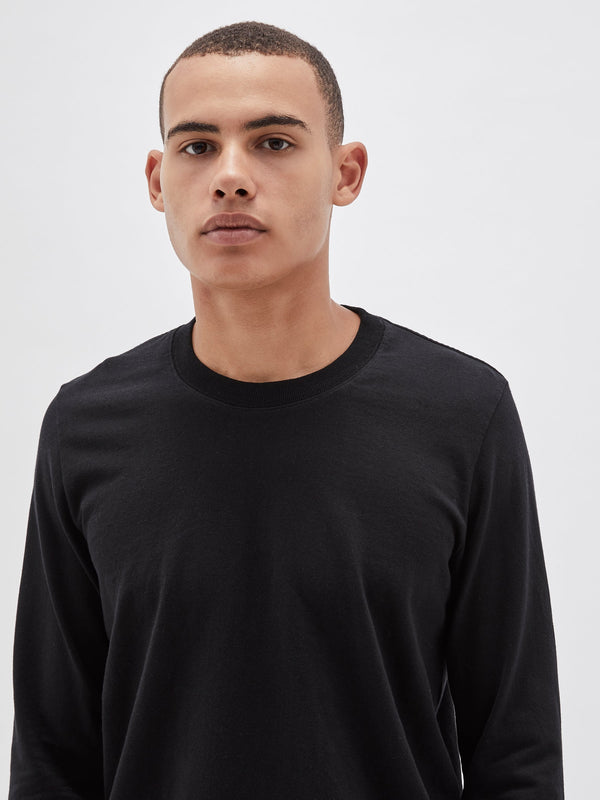 bassike 240 vintage neck long sleeve t.shirt in black