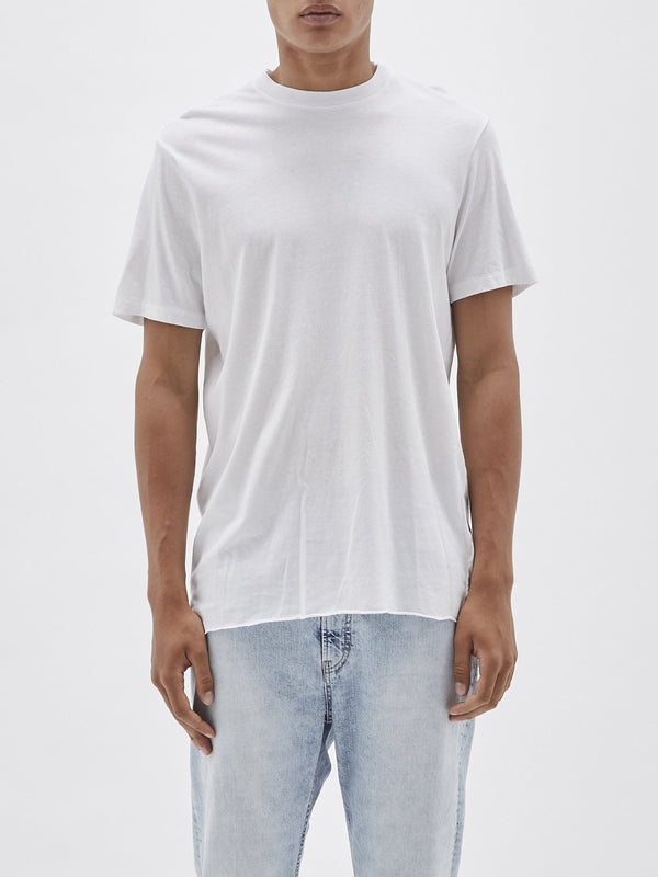 bassike 240 vintage neck t.shirt in white