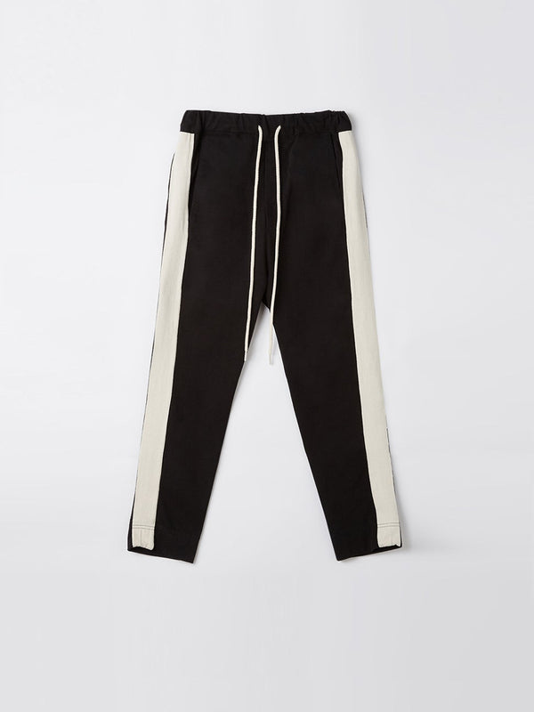 bassike herringbone detail rugby pant in black