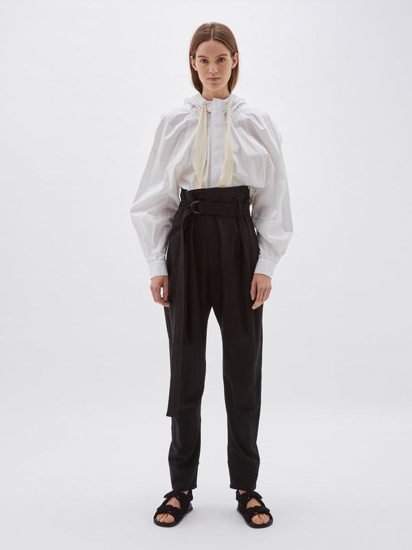 wool high waisted belted pant