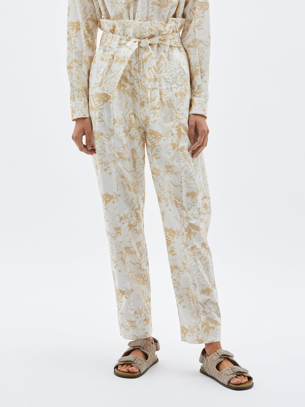 printed cotton wrap pant