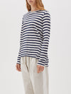 bassike wide heritage french seam long sleeve t.shirt in undyed-navy-blue