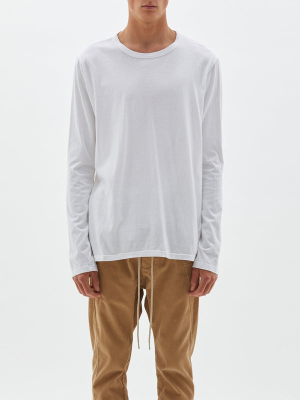bassike classic heritage long sleeve t.shirt in white