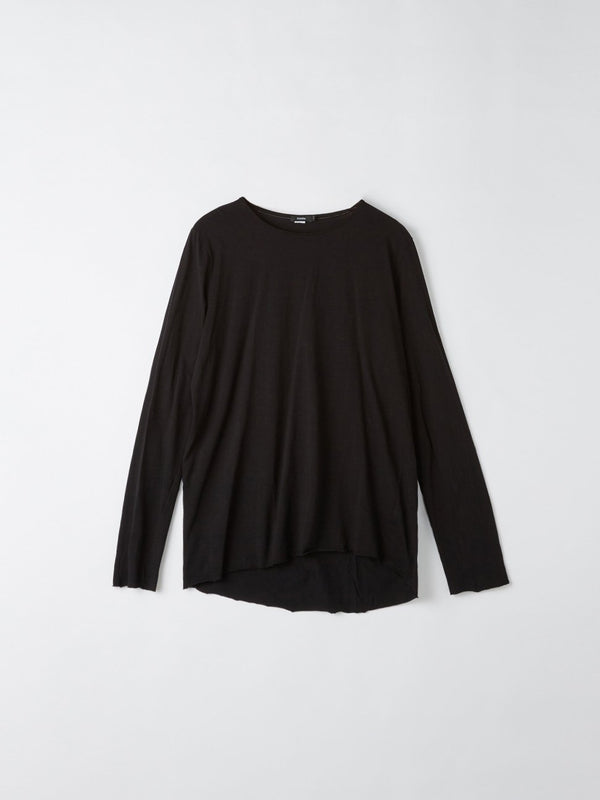 bassike original neck long sleeve t.shirt with tail in black