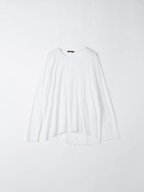 bassike original neck long sleeve t.shirt with tail in white