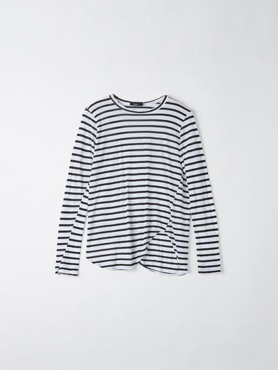stripe heritage scoop hem long sleeve t.shirt