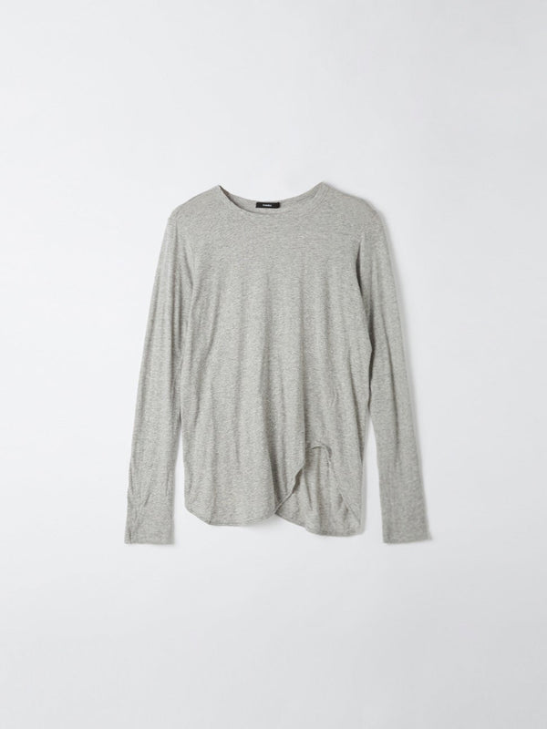 bassike heritage scoop hem long sleeve t.shirt in grey marl