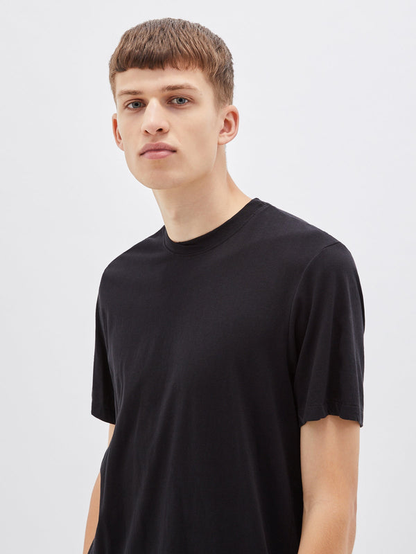 bassike classic crew short sleeve t.shirt in black