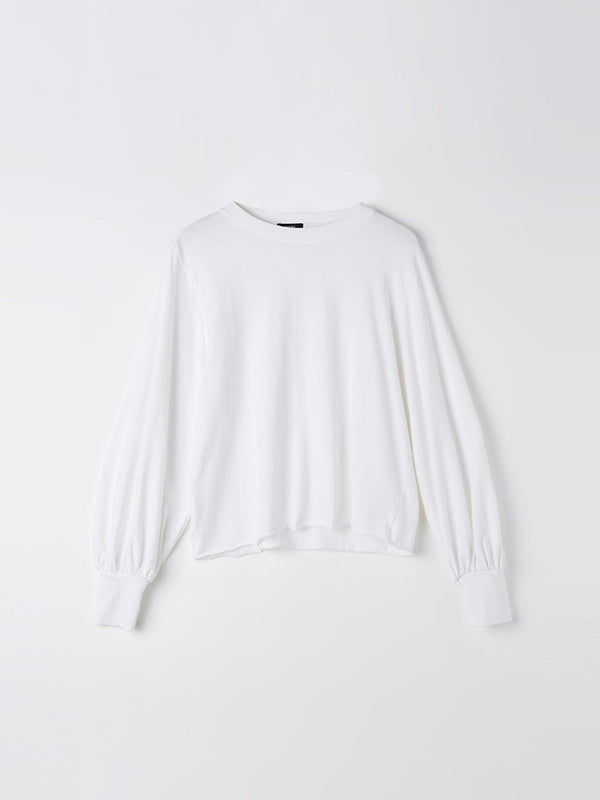bassike 240 jersey voluminous sleeve top in white
