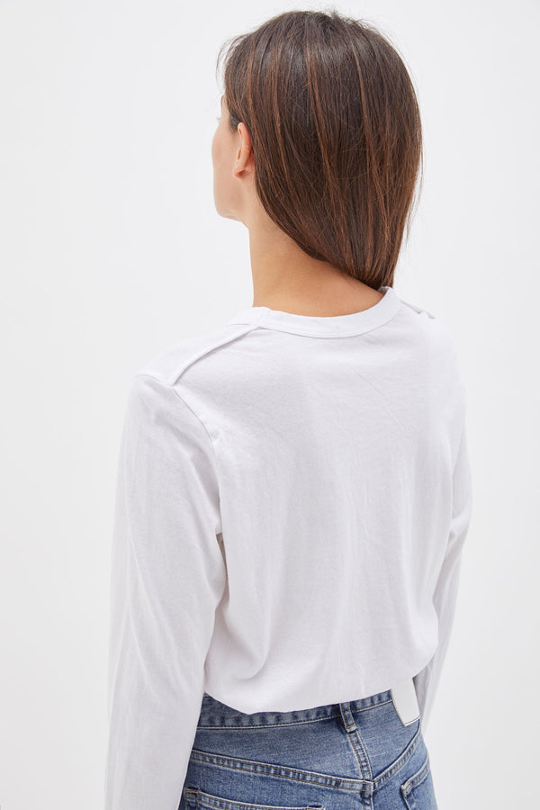 bassike wide heritage french seam long sleeve t.shirt in white