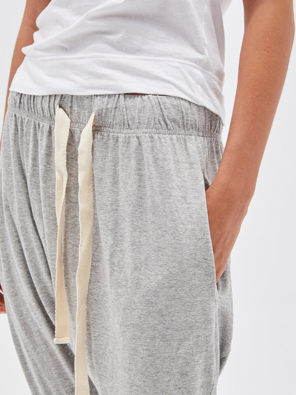 bassike slouch jersey pant lll in grey marl