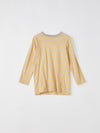 bassike mini stripe crew long sleeve t.shirt in barley light taupe