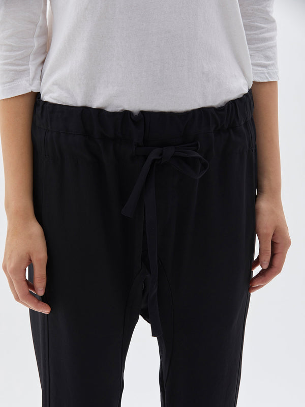 bassike triacetate relaxed pant in black