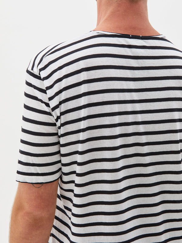 stripe original pocket t.shirt in black and white