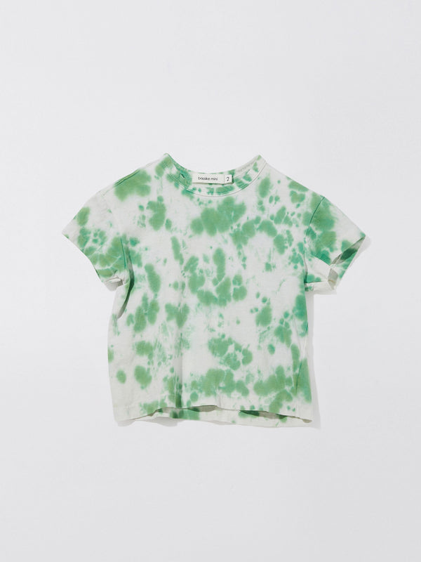 bassike mini motley boxy short sleeve t.shirt in white / bright green motley