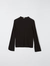 bassike raised neck slim long sleeve t.shirt in black