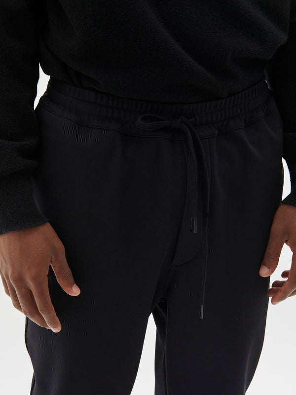semi tailored twill pant in black