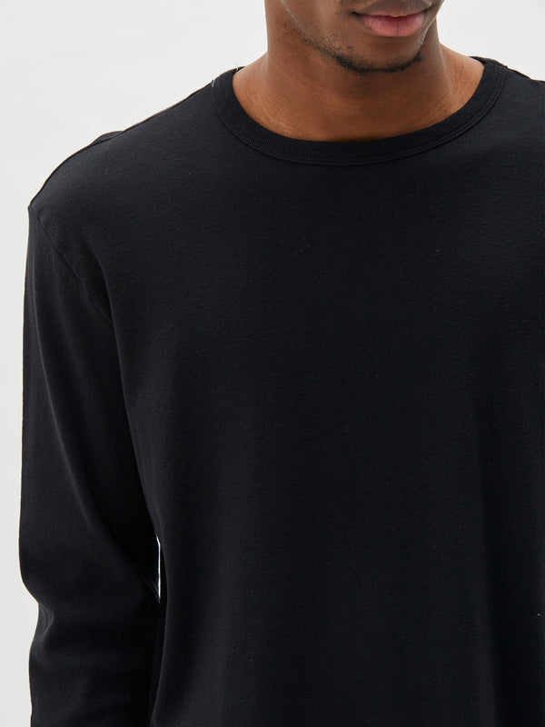shop the regular rib long sleeve t.shirt in black online at bassike. a regular fit long sleeve t.shirt in organic cotton rib. featuring a crew neckline and signature bassike contrast stitch. free shipping and returns within australia.