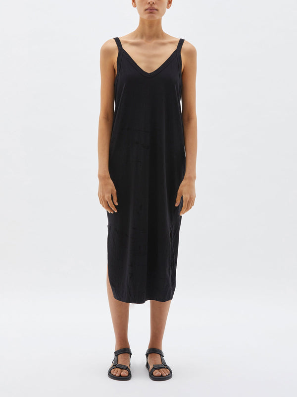 bassike v neck slouch tank dress in black