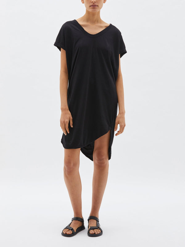 bassike v neck jersey slip dress in washed charcoal
