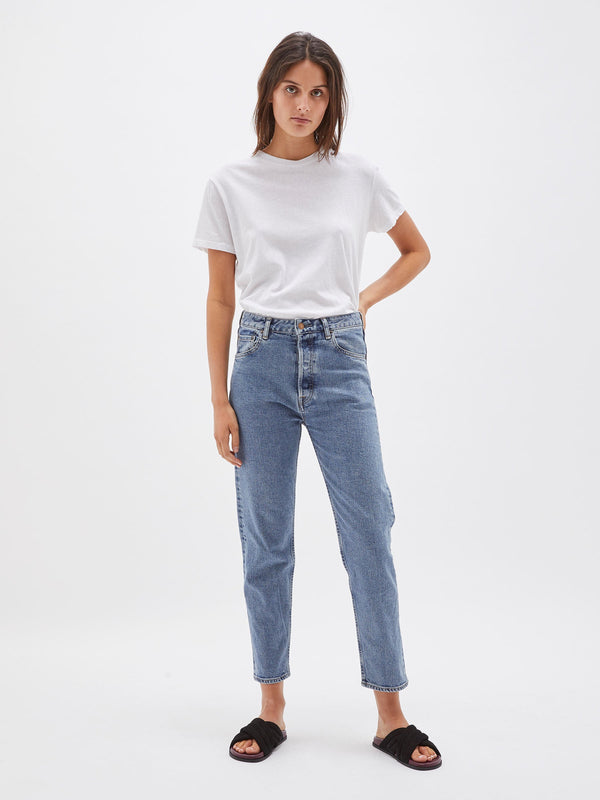 bassike classic crop jean in worn out wash