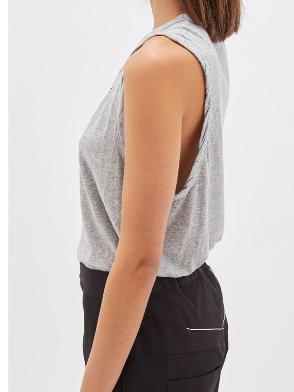 bassike detailed t.back tank in grey marl