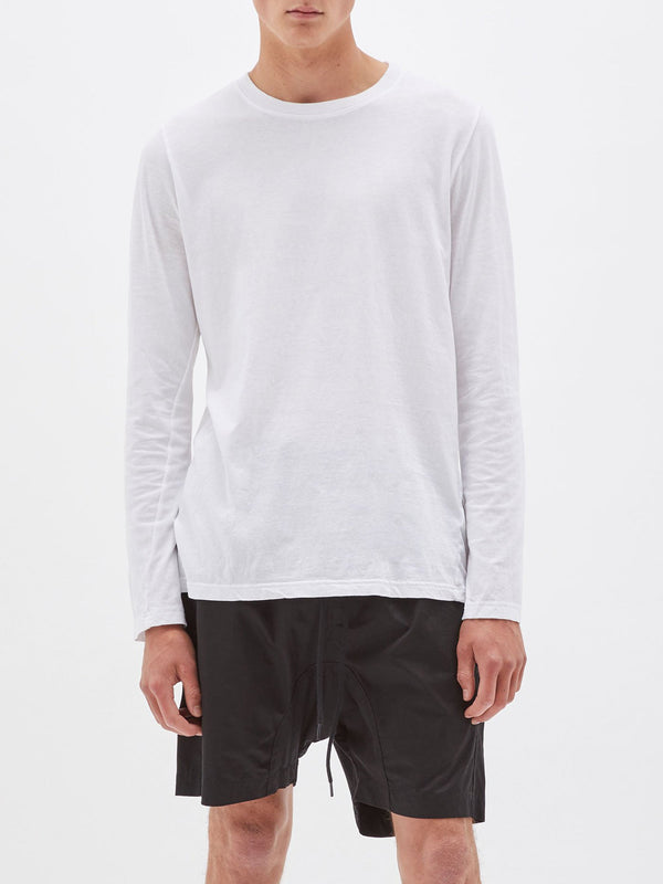 bassike layering long sleeve t.shirt in white