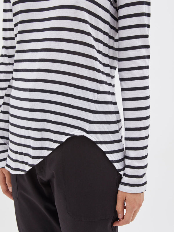 bassike stripe heritage scoop hem long sleeve t.shirt in black / white