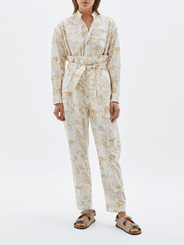 bassike printed cotton wrap pant in white / tan