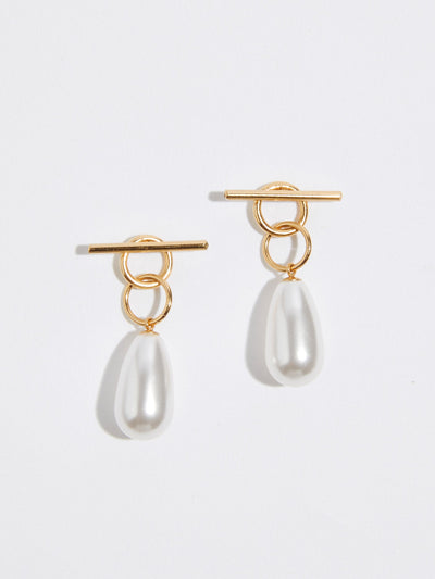 momoko hatano two way tangle gold earrings with pearls